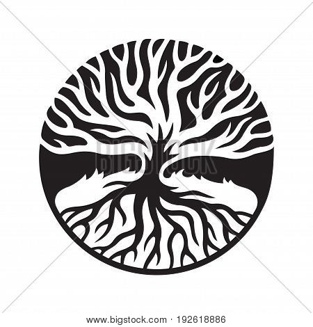 Tree of life concept illustration. Decorative tree with roots in circle shape negative space graphic silhouette. Vector logo. poster