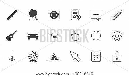 Hike trip, camping icons. Fishing, campfire and tourist tent signs. Guitar music, knife and food symbols. Chat, Report and Calendar line signs. Service, Pencil and Locker icons. Vector
