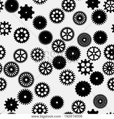 abstract vector black flat gears seamless pattern