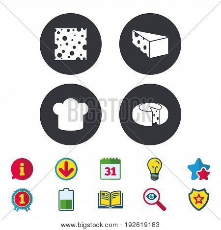 Cheese icons. Round cheese wheel sign. Sliced food with chief hat symbols. Calendar, Information and Download signs. Stars, Award and Book icons. Light bulb, Shield and Search. Vector