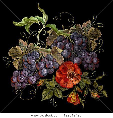 Embroidery cluster of grapes and peonies beautiful still life. Classical embroidery grapes and flowers on black background template fashionable clothes t-shirt design print renaissance style