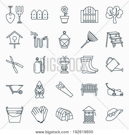 Collection of outline gardening icons. Vector illustration