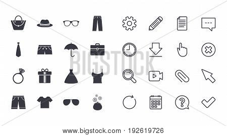 Set of Clothes, Accessories and Glasses icons. Shirt, Umbrella and Hat signs. Wallet, Handbag and Briefcase symbols. Calendar, Document and Download line signs. Pencil, Service and Search icons