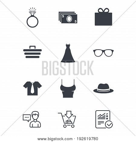 Accessories, clothes icons. Shirt with tie, glasses signs. Dress and engagement ring symbols. Customer service, Shopping cart and Report line signs. Online shopping and Statistics. Vector