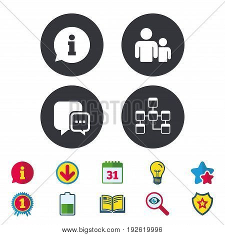 Information sign. Group of people and database symbols. Chat speech bubbles sign. Communication icons. Calendar, Information and Download signs. Stars, Award and Book icons. Vector