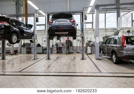 Samara Russia - January 10 2016: Inside in the auto repair service station of the official dealer Nissan. Nissan is a Japanese multinational automaker