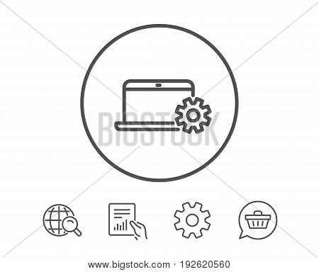 Laptop computer icon. Notebook Service sign. Portable personal computer symbol. Hold Report, Service and Global search line signs. Shopping cart icon. Editable stroke. Vector