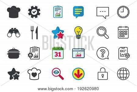 Chief hat and cooking pan icons. Fork and knife signs. Boil or stew food symbols. Chat, Report and Calendar signs. Stars, Statistics and Download icons. Question, Clock and Globe. Vector