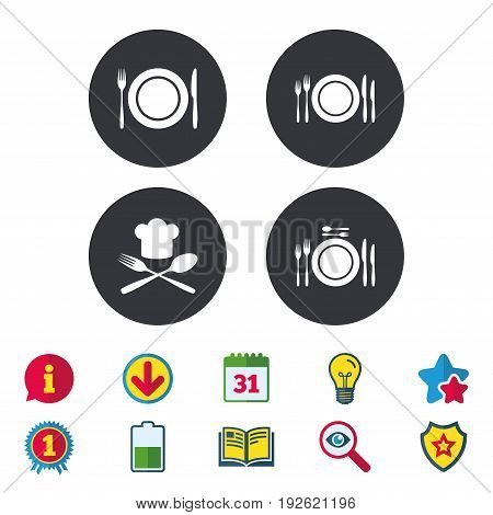 Plate dish with forks and knifes icons. Chief hat sign. Crosswise cutlery symbol. Dining etiquette. Calendar, Information and Download signs. Stars, Award and Book icons. Light bulb, Shield and Search
