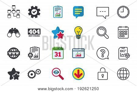 Website database icon. Internet globe and gear signs. 404 page not found symbol. Under construction. Chat, Report and Calendar signs. Stars, Statistics and Download icons. Question, Clock and Globe