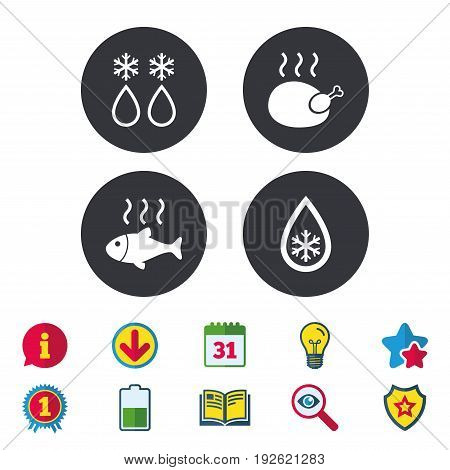 Defrosting drop and snowflake icons. Hot fish and chicken signs. From ice to water symbol. Calendar, Information and Download signs. Stars, Award and Book icons. Light bulb, Shield and Search. Vector