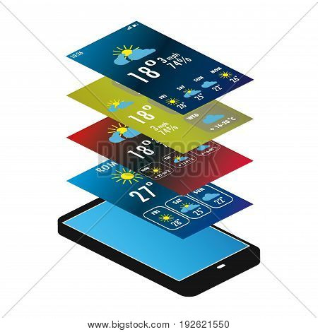 mobile phone and weather app, isometric vector illustration isolated on white background