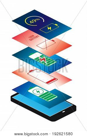 Smartphone, Phone charge and Low battery applications. Isometric view isolated on white background . Vector flat style