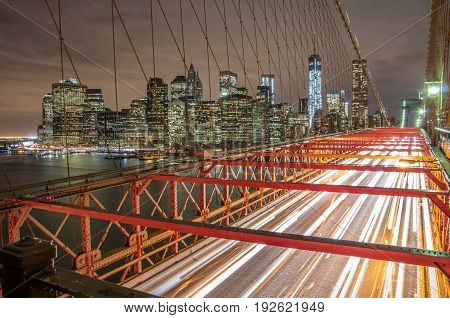 Nightscape of Brooklyn Bridge and Manhattan with long exposure