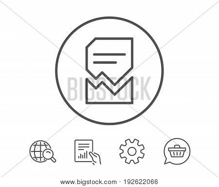 Corrupted Document line icon. Bad File sign. Paper page concept symbol. Hold Report, Service and Global search line signs. Shopping cart icon. Editable stroke. Vector