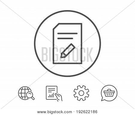 Edit Document line icon. Information File sign. Paper page with pencil concept symbol. Hold Report, Service and Global search line signs. Shopping cart icon. Editable stroke. Vector