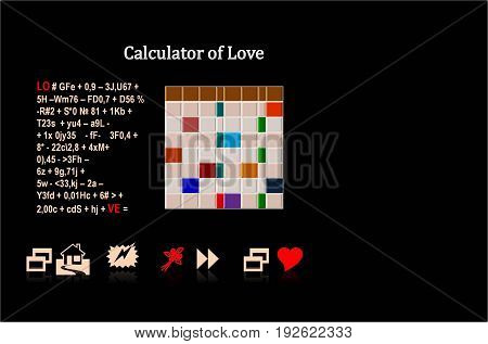 calculator of love In the picture shown in the ironic form of the formula of love, in other words how to be happy.