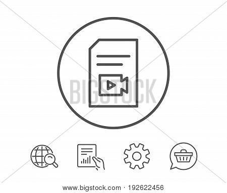 Document with Video content line icon. Vlog File with Camera sign. Paper page concept symbol. Hold Report, Service and Global search line signs. Shopping cart icon. Editable stroke. Vector