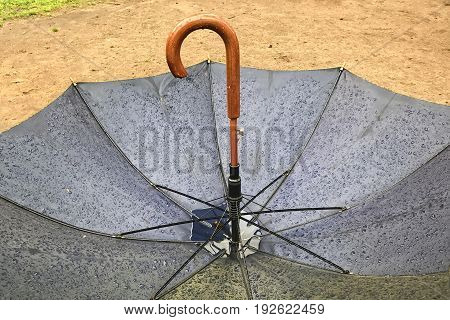 Inverted umbrella in the rain. A small puddle of water accumulated inside.