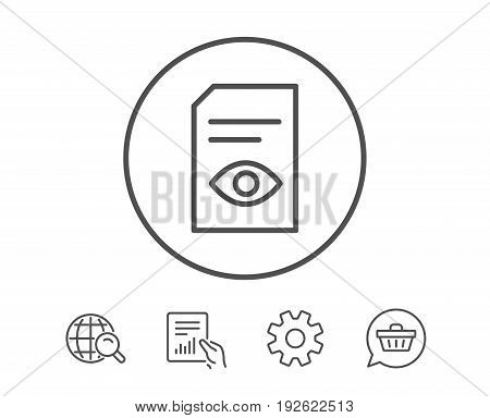 View Document line icon. Open Information File sign. Paper page with Eye concept symbol. Hold Report, Service and Global search line signs. Shopping cart icon. Editable stroke. Vector