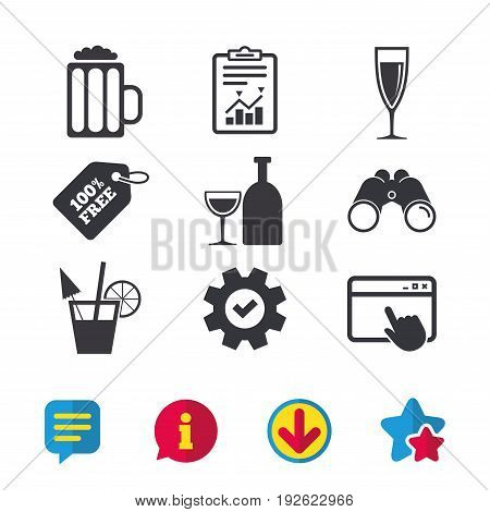 Alcoholic drinks icons. Champagne sparkling wine and beer symbols. Wine glass and cocktail signs. Browser window, Report and Service signs. Binoculars, Information and Download icons. Stars and Chat