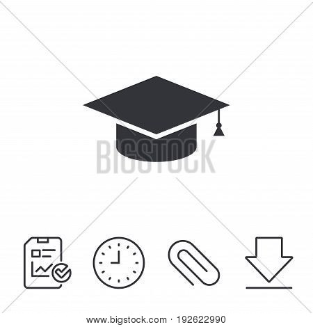 Graduation cap sign icon. Higher education symbol. Report, Time and Download line signs. Paper Clip linear icon. Vector