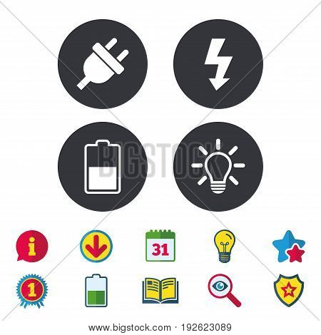 Electric plug icon. Light lamp and battery half symbols. Low electricity and idea signs. Calendar, Information and Download signs. Stars, Award and Book icons. Light bulb, Shield and Search. Vector
