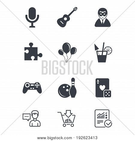 Game, bowling and puzzle icons. Entertainment signs. Casino, carnival and alcohol cocktail symbols. Customer service, Shopping cart and Report line signs. Online shopping and Statistics. Vector