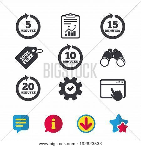 Every 5, 10, 15 and 20 minutes icons. Full rotation arrow symbols. Iterative process signs. Browser window, Report and Service signs. Binoculars, Information and Download icons. Stars and Chat. Vector