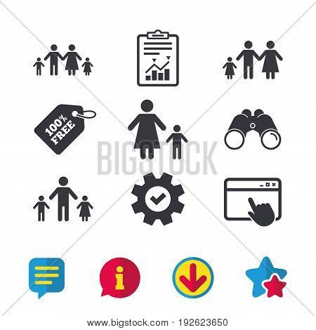 Family with two children icon. Parents and kids symbols. One-parent family signs. Mother and father divorce. Browser window, Report and Service signs. Binoculars, Information and Download icons