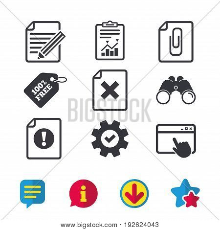 File attention icons. Document delete and pencil edit symbols. Paper clip attach sign. Browser window, Report and Service signs. Binoculars, Information and Download icons. Stars and Chat. Vector