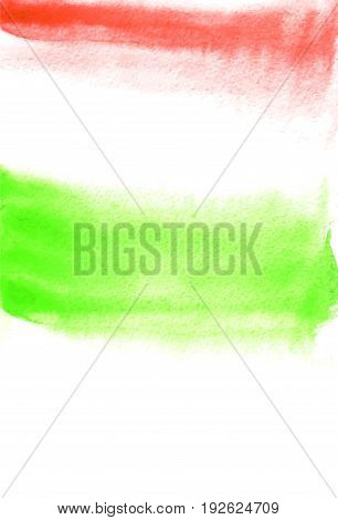 Card with green and red blots. Watercolor painting for design. Abstract bright textured backdrop. Postcard banner logo invitation. Hand paint isolated on white background. Vector illustration.