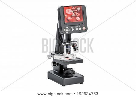 Digital modern microscope with screen biotechnology research of blood cells concept. 3D rendering