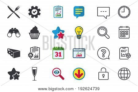 Food icons. Muffin cupcake symbol. Fork and knife sign. Glass of champagne or wine. Slice of cheese. Chat, Report and Calendar signs. Stars, Statistics and Download icons. Question, Clock and Globe