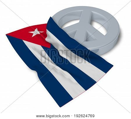 peace symbol and flag of cuba - 3d rendering