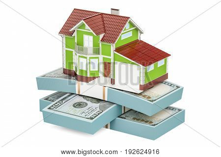 Real estate financial concept house with packs of dollars. 3D rendering