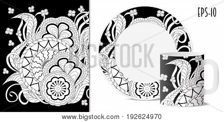 Hand drawn pattern with mandalas in zen style for decorate kitchenware cup dishes porcelain stationery. Mock-up cup and saucer. eps 10.