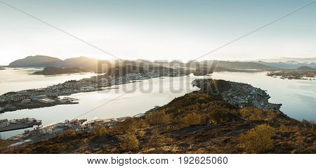 Alesund skyline at sunrise, western part of Norway
