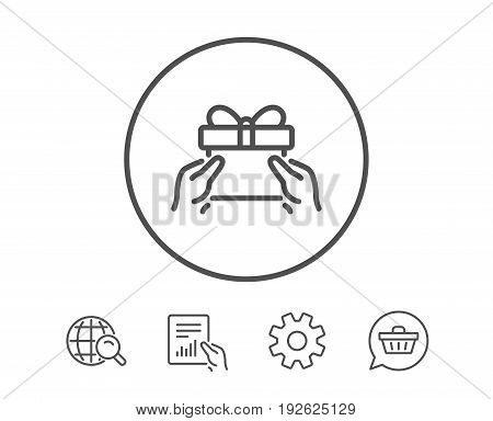 Give a Gift box line icon. Present or Sale sign. Birthday Shopping symbol. Package in Gift Wrap. Hold Report, Service and Global search line signs. Shopping cart icon. Editable stroke. Vector