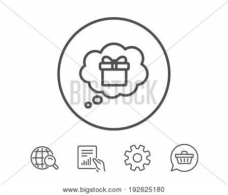 Dreaming of Gift line icon. Present box in Comic speech bubble sign. Birthday Shopping symbol. Package in Gift Wrap. Hold Report, Service and Global search line signs. Shopping cart icon. Vector