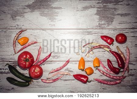 Background Of Vegetables Above View Toned