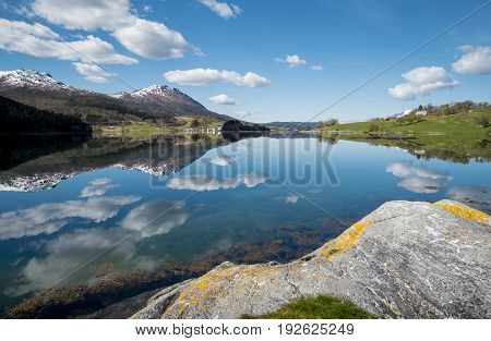Beautiful landscape with lake in western Norway