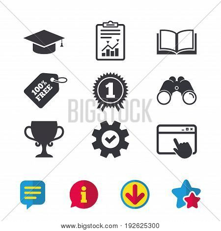 Graduation icons. Graduation student cap sign. Education book symbol. First place award. Winners cup. Browser window, Report and Service signs. Binoculars, Information and Download icons. Vector
