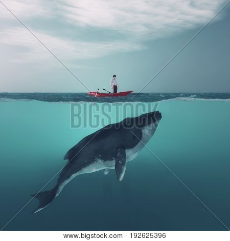 Man in boat floating above a huge whale in the ocean. This is a 3d render illustration