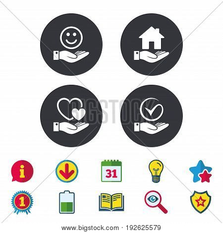 Smile and hand icon. Heart and Tick or Check symbol. Palm holds house building sign. Calendar, Information and Download signs. Stars, Award and Book icons. Light bulb, Shield and Search. Vector