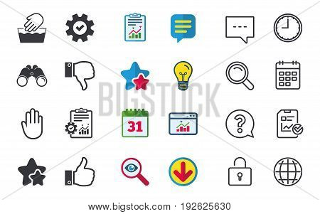 Hand icons. Like and dislike thumb up symbols. Not machine washable sign. Stop no entry. Chat, Report and Calendar signs. Stars, Statistics and Download icons. Question, Clock and Globe. Vector