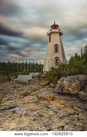 Early morning sunrise at Big Tub Lighthouse located in the Bruce Pininsula of Tobermory Ontario Canada.