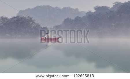Man in a red boat on a foggy lake. This is a 3d render illustration