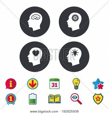 Head with brain and idea lamp bulb icons. Male human think symbols. Cogwheel gears signs. Love heart. Calendar, Information and Download signs. Stars, Award and Book icons. Vector