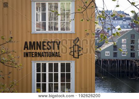 TRONDHEIM NORWAY - MAY 14 2017: Amnesty International office in old town of Trondheim Norway